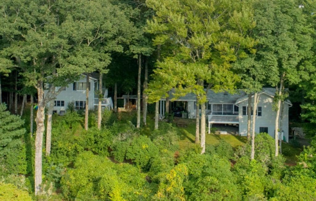 Aerial view through the forest of 136/138 Lake Ridge Road